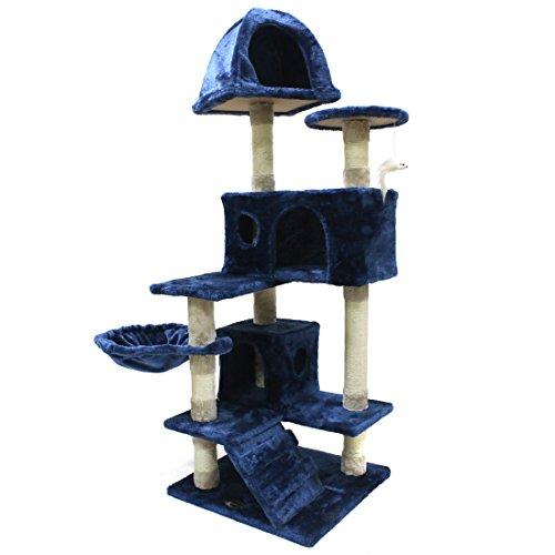 CUPETS Multi-Level Pet Play House Condo Furniture Scratching Post Cat Tree Scratcher Cat Climber Cat House Cat Condo,Blue
