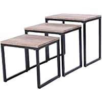 3PC Stacking Nesting Coffee End Table Set Living Room Modern Home Furniture Black