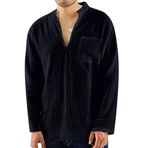 - Men's Vintage Breathable Tops,Lightweight Solid Blouse Summer V Neck Shirts Regular-Fit Tunic Comfort Flex Henleys