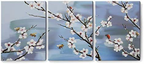 YJYArt Floral Framed Wall Art 12 x16 x3 Panels Plum Blossom Canvas Prints Wall Decor Paintings Art Work for Living Room Bedroom Bathroom