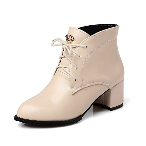 Kitten Hook Soft Boots Beige Womens Closed and Material AmoonyFashion Heels Toe Loop Pointed 5qznt6