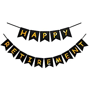 Amazon.com: Happy Retirement Banner Black and Gold Party Bunting ...
