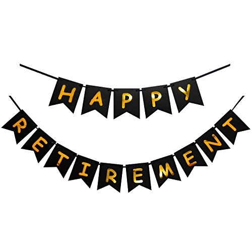 - INNORU Happy Retirement Banner Black and Gold Party Bunting Decoration for and Any Theme