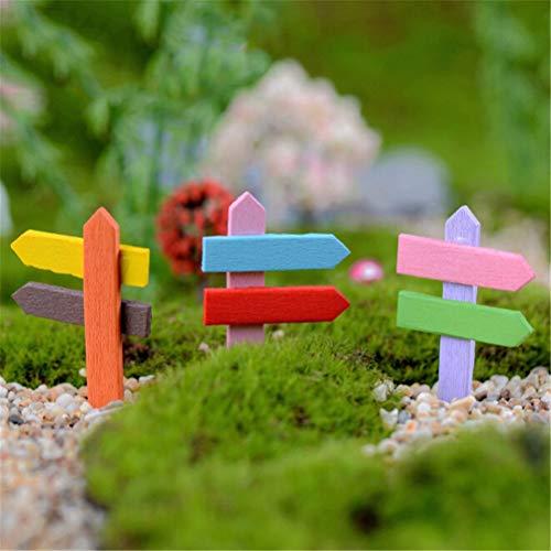 Figurines & Miniatures - 5pc Set Mini Miniature Wood Fence Signpost Craft Garden Decor Ornament Plant Pot Micro Landscape - Figurines Miniatures People Metal Silver