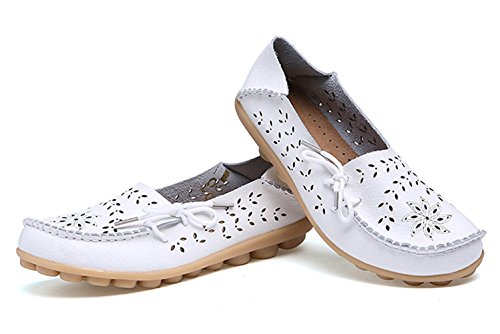 Leather Size KALEIDO New White Flat Carving Out Hollow Shoes Womens Version Driving Casual Cowhide Loafers qwHwzA