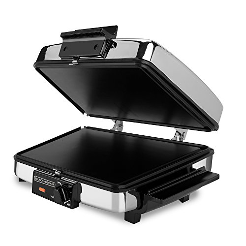 (BLACK+DECKER 3-in-1 Waffle Maker with Nonstick Reversible Plates, Stainless Steel,)
