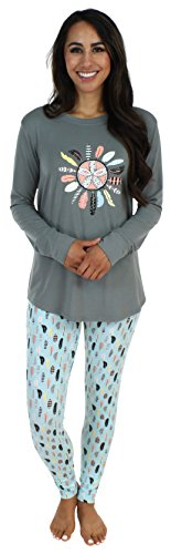 Sleepyheads Women's Sleepwear Knit Longsleeve Top and Leggings Pajamas PJ Set-Feathers (SH1140-4088-XS)
