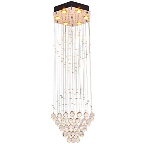 Modern Clear Crystal Raindrop Chandelier Lighting Flush Mount LED Ceiling Light Fixture Lamp Livingroom Dinning Room Bedroom Entryway Hallway 6 GU10 Bulbs Required H 47in X D (Amber Chandelier Hook Earrings)