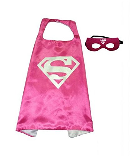 (Supergirl Hot Pink) AMAZEN Superhero Superman Kids Girl And Boy Cape Mask Costume for -