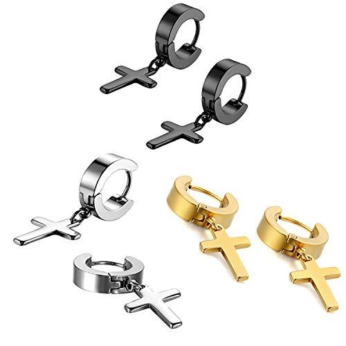 Metal Cross Earrings - Oidea 6pcs Stainless Steel Huggie Hoop Cross Drop Earrings for Men Women,Hypoallergenic