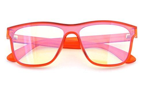 Amber Framed Sunglasses - GAMEKING MEGA Blue Light Blocking Computer Glasses Gaming Glasses | Oversize TR90 Wayfarer Frame | Amber Tint Lens | Digital Eye Strain Fatigue Headache Relief Sleep Better (Coral)
