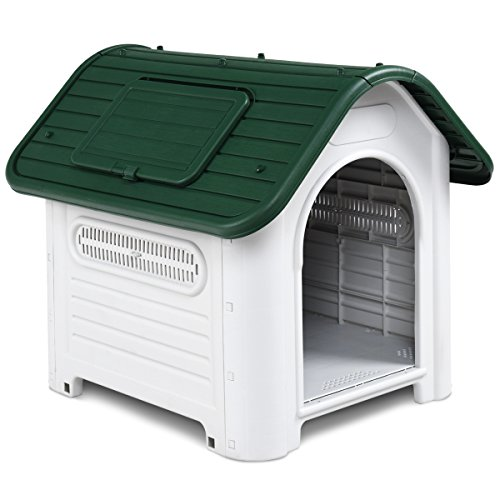 Giantex Outdoor Indoor Pet Dog House Portable Waterproof Plastic Puppy Shelter All Weather Roof Cat Dogs House with/without Skylight (Green, With Skylight)