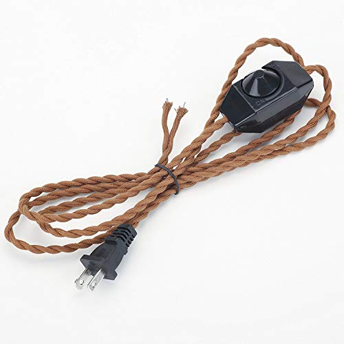 Kiven 5.9' Retro Style Lamp Dimmer Weave Rope Open Wires UL Certified Dimmer Switch Cord(Brown) (Tabletop Dimmer)