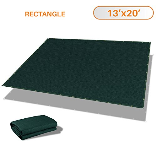 Sunshades Depot 13' x 20' Straight Side Sun Shade Sail 180 GSM Dark Green Patio Rectangle Shade Fabric UV Shelter Pergola Cover for Outdoor Backyard Deck - 3 Year Warranty