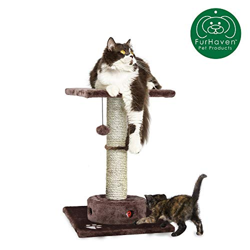 Furhaven Pet Cat Furniture | Tiger Tough Scratching Post Entertainment Cat Tree Playground for Cats & Kittens, Brown