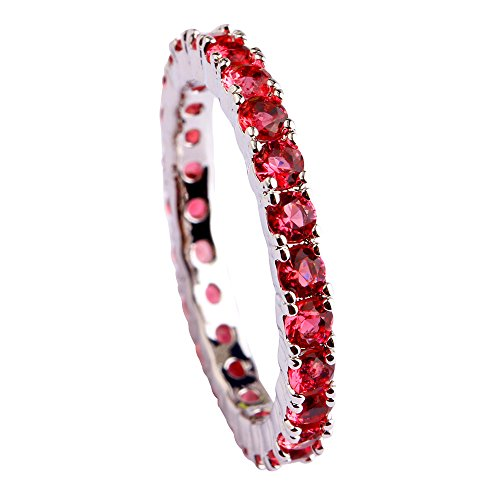 (Narica Women's Charming 21Pcs Ruby Spinel Engagement CZ Ring Band)