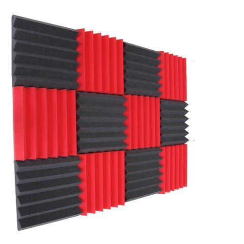 (12 Pk) 2″x12″x12″ Red/Charcoal Soundproofing Foam Sheets Acoustic Wall Panels Tiles Studio Foam Sound Proof Padding Wedges Insulation Sound Dampening Foam Recording Studio Equipment
