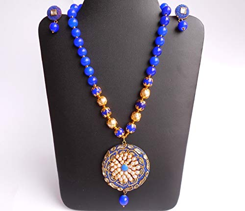 Ethnic Handmade Amrapali Golden Thread Pachhi Blue Glass Stone Beads Necklace N0709/_19