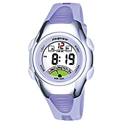Gorgeous Waterproof Watches Outdoor Sports Digital Watch with Luminous Alarm Clock Stopwatch Great Timepiece for Girls Boys 219 Purple