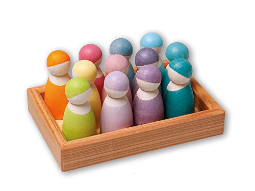 Grimm's 12 Pastel Friends Wooden Dolls