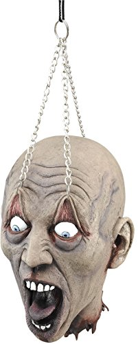 [Halloween Horror Party Room Decoration Spooky Hanging Dead Head With Chain Prop] (Hanging Halloween Props)