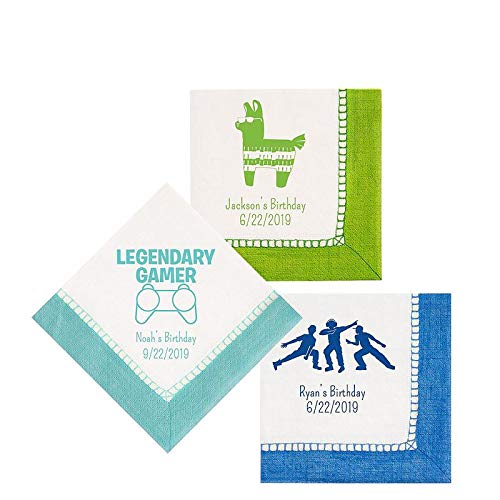 HollyDel Personalized Boys Birthday Bordered Beverage Napkins Battle Royal Party Supplies