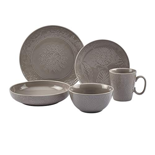 Tabletops Gallery Fashion Dinnerware Collection- Embossed Stoneware Dishes Service for 4 Dinner Salad Appitizer Dessert Plate Bowls, 20 Piece Sophia Dinnerware Set in Grey