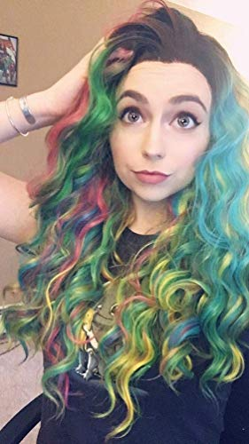 Imstyle Colorful Lace Front Wigs Long Rainbow Color Wigs Loose Wave Dark Root Synthetic Wig For Party Drag Queen 24 Inch ()