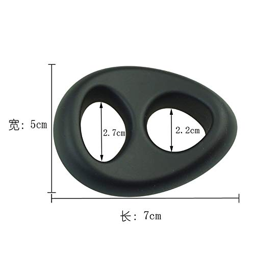 JLP Soft Silicone Double Ring for Men - Black Tool for Male - Flexible Band for Him - Best Idea for Gift - Black