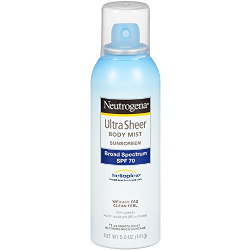 Neutrogena Ultra Sheer Body Mist Sunscreen, Broad Spectrum Spf 70, 5 Oz. (Pack of 3)