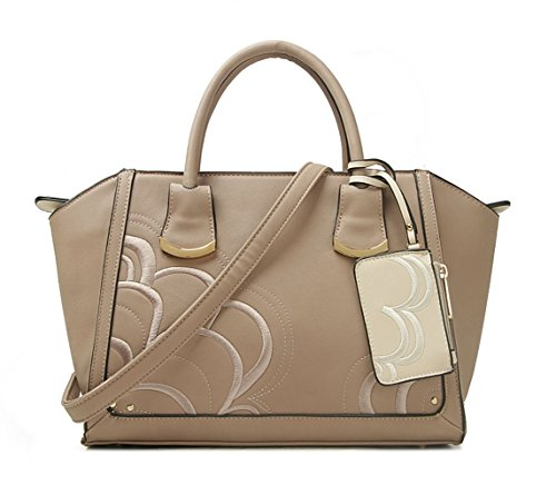 Tone Bags Shaped Two KHAKI WITH Nice Women's POUCH Great Handbags LeahWard BAG Tote qSEfBwW