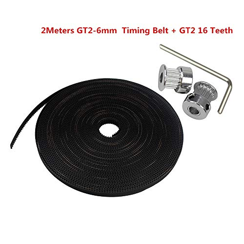 Value-Trade-Inc - GT2 16teeth 16 Teeth Bore 5mm Timing Alumium Pulley + 2Meters Rubber GT2-6mm Open Timing Belt Width 6mm for 3D Printer
