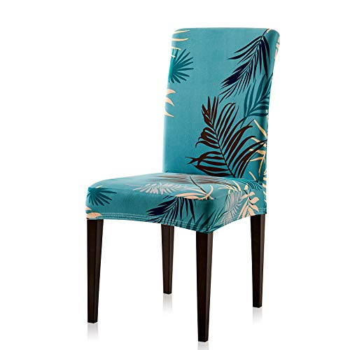 Subrtex Printed Leaf Stretchable Dining Room Chair Slipcover (2 Pieces, Aqua) Green ()