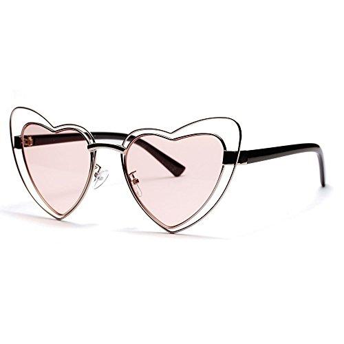 Metálica La Gafas De De Gafas De Sol Sol Color Fecha Forma TIANLIANG04 De Corazón En Rosa Estructura Mujer Oqw4tavxd