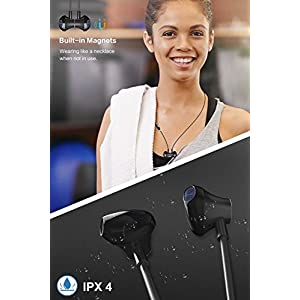 Dostyle Magnetic Wireless Earbuds Bluetooth Headphones HD Stereo Sweatproof In-ear Earphones Noise Cancelling Headset with mic for iPhone X 8 7 Plus Samsung Galaxy S7 S8 and Android Phones (black)