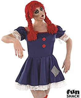 ladies scary rag doll costume for halloween circus clown fancy dress outfit in l large