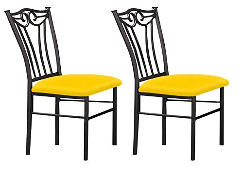 Dinette Set Pastel - The Furniture Cove 2 Black Finish Metal Dining Chairs With A Yellow Vinyl Padded Seat Cushion Theme!