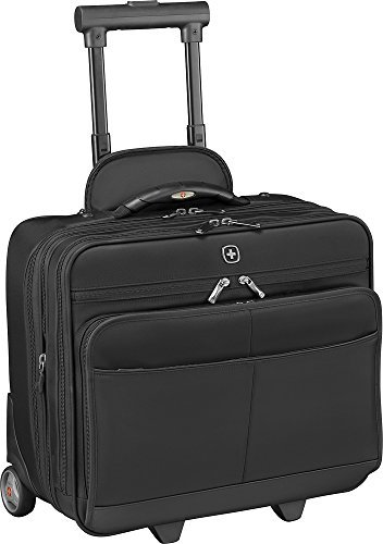 Wheeled Computer Briefcase - Wenger SwissGear Capital Double Zipper Expandable Overnighter Wheeled Laptop Briefcase-Black