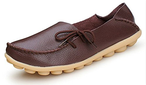 REZIPO Women's Leather Loafers Shoes Casual Moccasin Driving Outdoor Shoes Indoor Flat Slip-On Slippers Brown