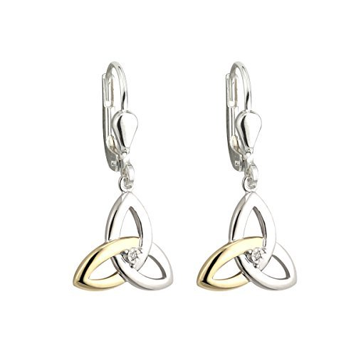 Trinity Knot Earrings Sterling Silver 10K & Diamond Drops Irish Made by Failte