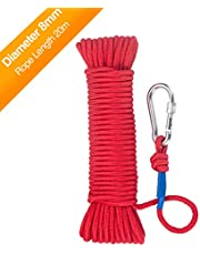 Wukong Corde de Pêche,Corde tressée 6mm/8 mm x 20 m Rouge/Noir, Corde multifonctionnelle, Charge de Rupture: 150Kg/250kg