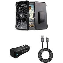 Samsung Galaxy J7 (J7 V, Perx, J7 Prime, Sky Pro, Halo) - Bundle: Dual Layer Shockproof Kickstand Belt Holster Case - (Skull Wings), 18W QC 3.0 Car Charger, Micro USB Cable, Atom Cloth