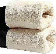 Leggings femininas forradas de lã para o inverno quente à prova de vento, calças leggings elásticas de cintura