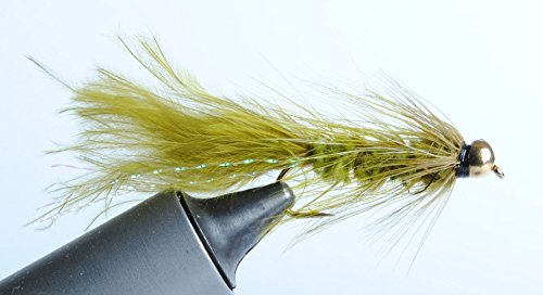 Bead Head Wooly Bugger Streamer Fly (Olive, #14) Olive Streamer