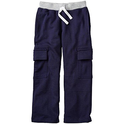 Hanna Andersson Big Boy Very Güd Double Knee Cargo Sweats, Size 140 (10), Navy