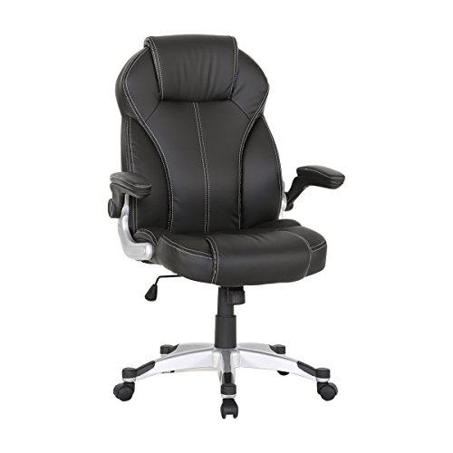 HollyHOME Leather Office Chair, Flip-Up Arms and Adjustable Tilt Angle Executive Computer Desk Chair, Ergonomic Design For Lumbar (Angle Office Chair)