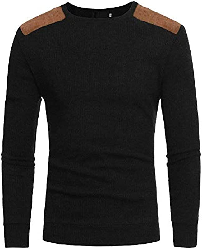 Lanceyy męska bluza sweter ciepły z dzianiną sweter okrągły dekolt prosty styl casual slim sweter z dzianiny sweter: Odzież
