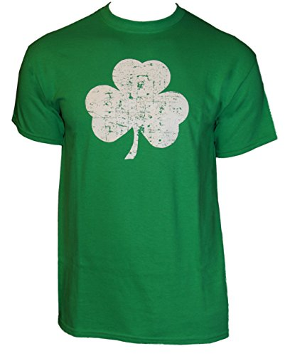 St Patricks T Shirt (Retro Green Irish Distressed Shamrock T-shirt St Patricks Day Mens Ireland , Green, Medium)
