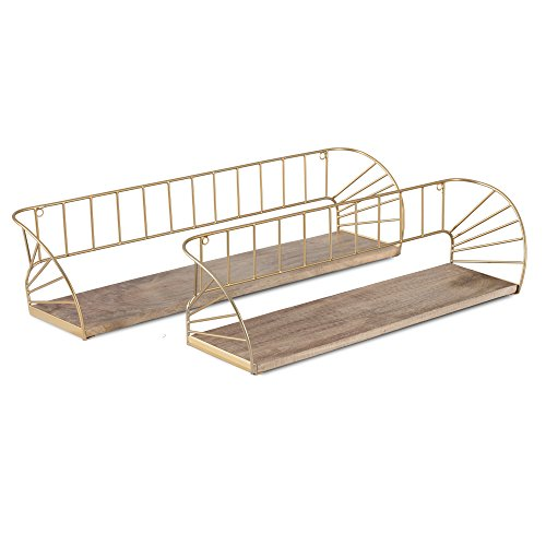 Madeleine Home Santi Floating Box Shelf | Hand Crafted with Gold Plated Metal Frame & Natural Wood | Wall Mounted Accent Display Storage Ledge for Kitchen, Living Room, Bedroom, Office