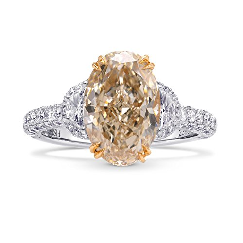 4.01Cts Champagne Diamond Engagement 3 Stone Ring Set in Platinum GIA Cert Size 6